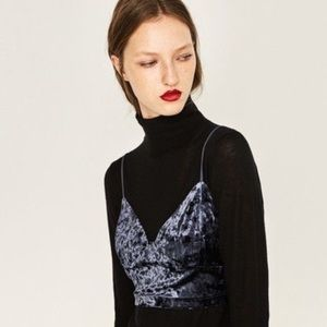 Zara crushed velvet crop top